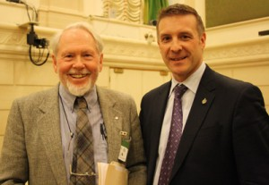 Artist Tony Urquhart and Peter Braid, Member of Parliament for Kitchener-Waterloo